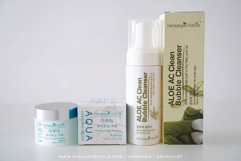 ALOE AC CLEAN BUBBLE CLEANSER & AQUA WHITENING CREAM HANSAEGEE NATURE REVIEW (44)